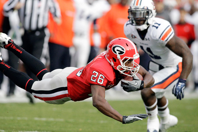 One win. That's what Georgia (8-2, 6-1) needs to lock up the SEC East and play for the conference championship. The Bulldogs won their eighth in a row in dominating fashion behind a four-touchdown day from Aaron Murray, who broke Matthew Stafford's school record with his 27th touchdown strike of the season.