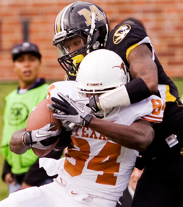 Missouri has been inconsistent this season, but the Tigers (5-5) had an up day against the Longhorns (6-3) at home on Saturday. Kip Edwards (pictured) and the Missouri defense flustered Texas all day, holding the 'Horns to 249 net yards. This is the first time Missouri has beaten Texas under head coach Gary Pinkel.