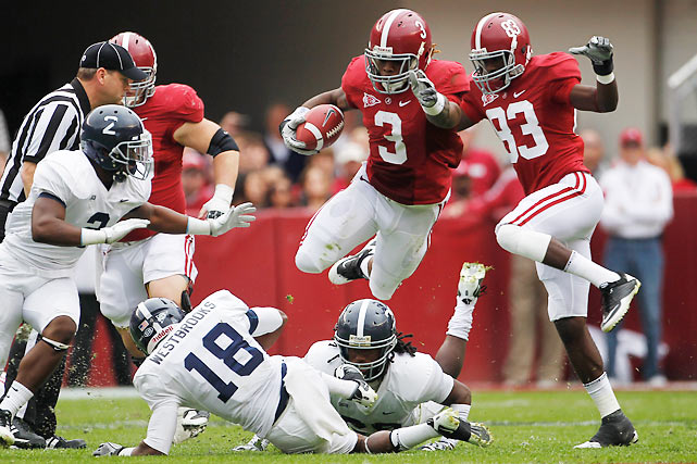 Alabama didn't win many style points by struggling against an FCS foe (it was 24-14 Alabama at the half), but the Tide escaped with the victory. Trent Richardson (pictured) had a monster day, rushing for 175 yards and two touchdowns and catching another score.