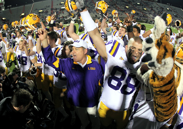 Ron Brooks returned an interception for a touchdown 28 seconds into the game and LSU piled up 353 yards rushing on the way to a 49-point romp. LSU's domination of Mississippi was so complete that with more than five minutes remaining in the game, the Tigers lined up in a victory formation, content to kneel four straight times rather than try for another touchdown. At 11-0, LSU matched its best start since 1958.