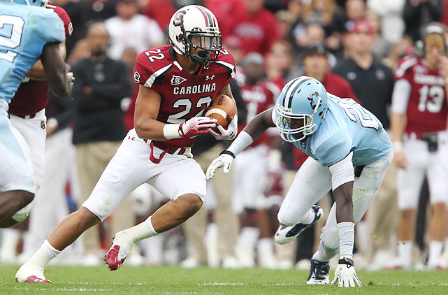 Quarterback Connor Shaw had a huge day for South Carolina, throwing for 206 yards and three touchdowns and rushing for 89 yards and another score. But Shaw didn't have to carry the load himself. On the same week stud tailback Marcus Lattimore underwent knee surgery, Brandon Wilds (pictured) rushed for 105 yards and two scores.