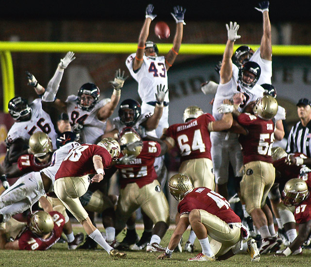Kevin Parks ran 10 yards for a touchdown with 1:16 left to give Virginia the lead and FSU's Dustin Hopkins missed a 42-yard field-goal attempt in the closing seconds as the Cavaliers upset the Seminoles to set up a showdown with intrastate rival Virginia Tech for a spot in the ACC championship game.