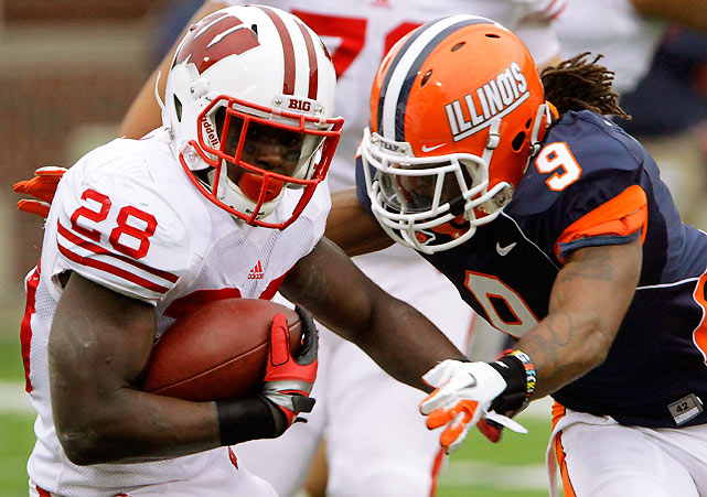 Wisconsin trailed 17-7 at the half and couldn't get its offense going. Then Montee Ball (pictured) took over, rushing for 221 yards and two touchdowns on a whopping 38 carries. Ball now has 30 rushing touchdowns on the season.