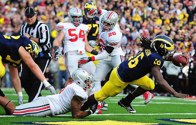 The streak is over. In his first season as Michigan coach, Brady Hoke did what his predecessors failed to do the last seven seasons: beat Ohio State. In a thrilling back-and-forth game, Denard Robinson (pictured) made the difference, passing for 166 yards and three touchdowns and rushing for 170 yards and two more scores.
