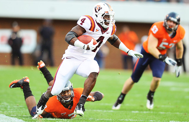 Virginia entered this contest with a chance to win the ACC Coastal Division. It exited realizing there's still a bit more work to do in Mike London's so far masterful rebuilding effort. Hokies quarterback Logan Thomas threw two touchdowns and rushed for another, while David Wilson (pictured) racked up 159 rushing yards and two scores.