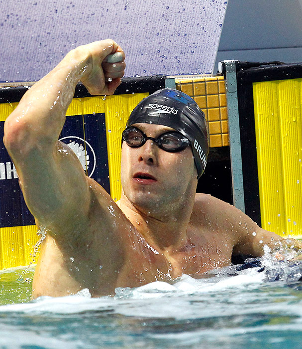 Nick Brunelli fist-pumps after he won the 50m freestyle by just .01, the slimmest of margins. Brunelli finished fourth in the 100m freestyle, and also swam a leg of the 4x100m freestyle relay, which won the gold.