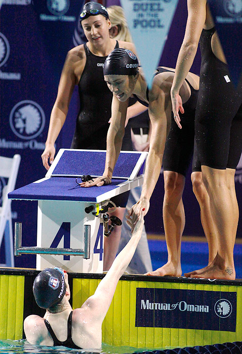 The U.S. women kicked off the meet by swimming a short course meters world record in the 4x100 medley relay. Natalie Coughlin, Rebecca Soni, Dana Vollmer and Missy Franklin swam for a combined time of 3:45.56, breaking the old record by almost two and a half seconds.