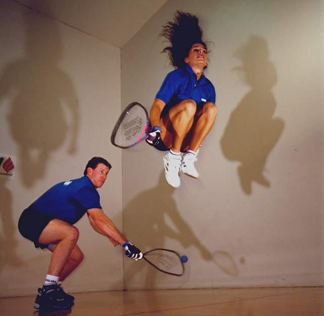 Former first baseman Jeff Conine hits the racquetball court with his wife, Cindy. The world class racquetball players have three children.