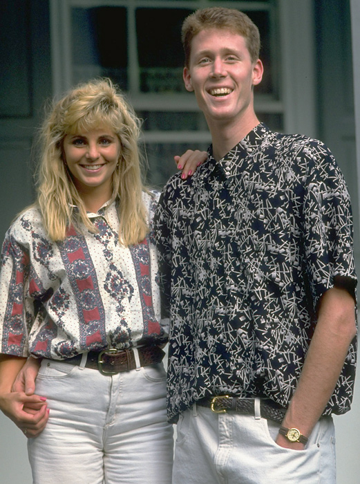 The 7-foot-6 Shawn Bradley poses with girlfriend Annette Evertsen in 1993. Bradley, a devout Mormon, is now married to Annette and they have six children.