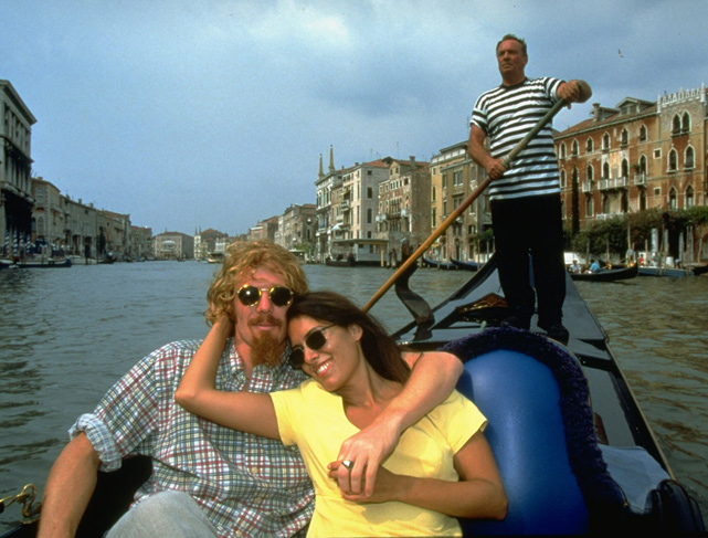 Former U.S. soccer player Alexi Lalas rides in a gondola with future wife Jill McNeal during an Italian getaway in 1994. Lalas has been married to Anne Rewey since 2002 and the couple have two children.