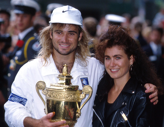 Agassi celebrates with girlfriend Wendy Stuart after winning Wimbledon in 1992. Agassi is currently married to retired professional tennis player Steffi Graf. They have two children.