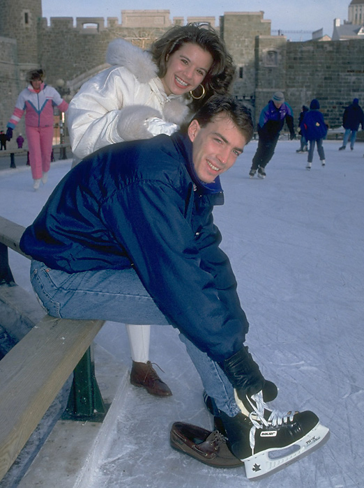 NHL center Joe Sakic gets ready for a casual skate with girlfriend Debbie Metivier in 1992. Joe and Debbie, who met during Sakic's brief stint with the WHL's Swift Current Broncos, are currently married and have three children.