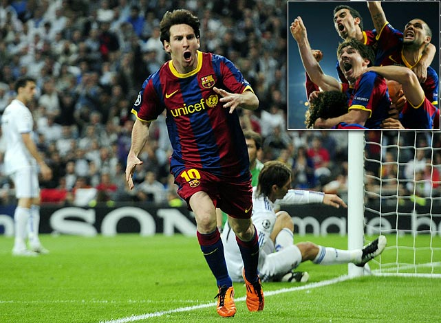 The archrival superpowers played a stunning four times in 18 days , none more memorable than the first leg of the Champions League semifinal where Barcelona's Lionel Messi affirmed his status as the world's greatest player. Messi scored one of the finest goals the Champions League has ever seen, dribbling past five players before slotting cooly past Real goalkeeper Iker Casillas.