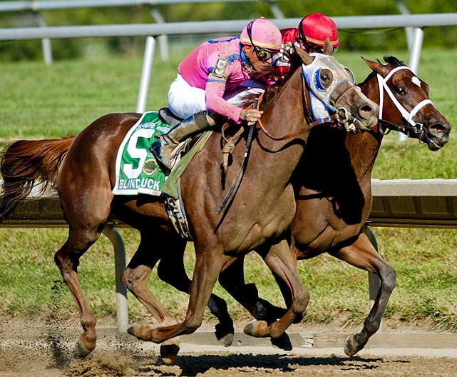 In a year when neither the Triple Crown nor Breeders' Cup races produced or validated true champions, 4-year-old fillies Blind Luck and Havre de Grace closed their two-year, six-race rivalry in spectacular fashion. They had split four victories in 12 months (both were beaten in the 2011 Breeders' Cup Ladies Classic by then-older Unrivaled Belle) when they walked into the starting gate to race 1 1/4 miles in Delaware. As always, Havre de Grace stalked the leaders while Blind Luck fell far back. Havre de Grace made first run on the turn, was passed by Blind Luck inside the quarter pole, bravely took back the lead by a neck and then was overhauled in the final jumps of a pulsating stretch run by Blind Luck. Sadly -- yet, fittingly -- they would not meet again, as Blind Luck was retired after a dull performance in her native California two months later and Havre de Grace finished her career with a dominating victory in the Beldame in New York and then a very game fourth place against males in the Breeders' Cup Classic.