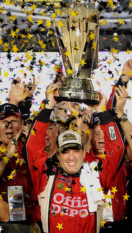 "Before the Sprint Cup playoffs, Tony Stewart declared himself unfit to race for the title. But once the playoffs began, something clicked for the two-time champ. He hit Victory Lane in four of nine Chase for the Championship races -- after winning zero races during the regular season -- and entered the finale at Homestead battling Carl Edwards for the 2011 title. ""Smoke"" kept his hot streak going at Homestead, driving from the back of the pack twice to capture his third career Sprint Cup championship."