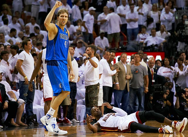 The Mavs made a habit of comebacks in the playoffs, none more impressive and important than their rally from a 15-point deficit with 7:15 left at Miami to even the championship series at 1-1. Dirk Nowitzki used his injured left hand to make a tiebreaking layup with 3.6 seconds remaining to complete the charge for Dallas, which overcame 36 points from Dwyane Wade. The victory all but saved the Mavs' season, as only three teams have come back from trailing 2-0 in Finals history.