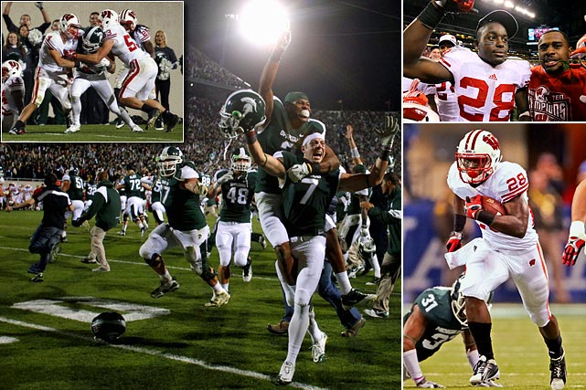 "Amid increasing hysteria over the prospect of an LSU-Alabama rematch, a conflicting national desire emerged: Could Wisconsin and Michigan State play every week? On Oct. 22, Michigan State beat then national-title hopeful Wisconsin 37-31 on a last-second Hail Mary now infamously known by its code name, ""Rocket."" The Badgers eventually got their revenge, surviving the Spartans 42-39 in the Big Ten title game when a roughing-the-punter call on MSU erased a huge return and allowed Wisconsin to run out the clock."