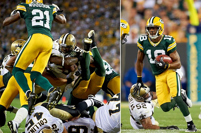 After the long, winding road that was the NFL lockout, the football-loving nation was thrilled to see the Packers and Saints take the field for the league's annual Thursday-night opener. And boy, did those two teams deliver. Green Bay took an early lead that held up, but the game wasn't decided until the final play, when the Packers stuffed Mark Ingram on the goal line with the Saints a touchdown and two-point version to pull even. It was the defining big play in a game full of them. After the fireworks of Randall Cobb's 108-yard kickoff return, Darren Sproles' 72-yard punt return and six TDs between aerial maestros Aaron Rodgers and Drew Brees, the lockout was a very distant memory.