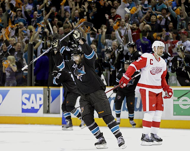"This was a measure of postseason redemption for Patrick Marleau, who had been called ""gutless"" by broadcaster and former teammate Jeremy Roenick. With his Sharks in danger of coughing up a three-games-to-none lead, Marleau scored what proved to be the winning goal with 7:47 left in the third period and made a key defensive play to preserve San Jose's win.  Sharks goaltender Antti Niemi came up big, making 38 saves while holding off the potent Red Wings."
