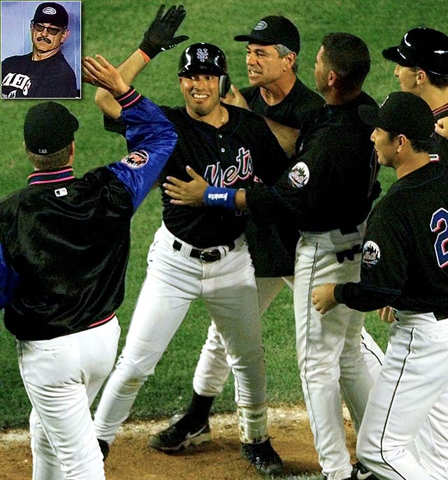 One of Valentine's most memorable moments came in 1999, when he was ejected in the 12th inning of a game against the Toronto Blue Jays for arguing a catcher's interference call. Instead of watching the rest of the game from the clubhouse, Valentine returned to the dugout with a fake mustache, sunglasses and Mets t-shirt on. The Mets won 4-3, but he was suspended three games by MLB and fined $5,000.