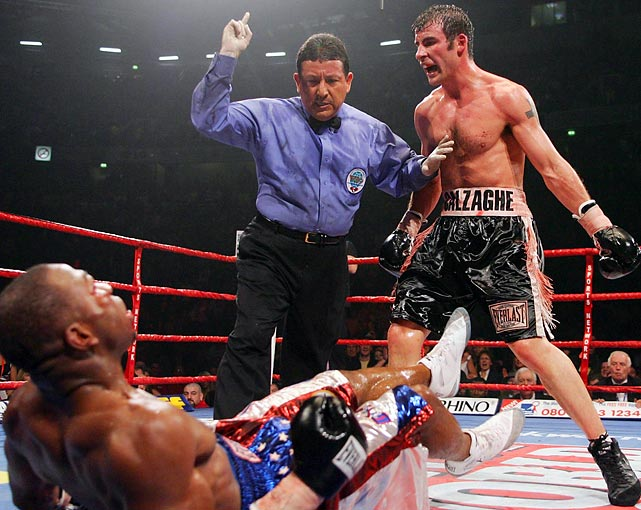 "Calzaghe retains WBO title, wins IBF title.  Despite Calzaghe's credentials and home field advantage, the powerpunching Lacy, 21-0, is the betting favorite. The bettors are dead-wrong; the southpaw Calzaghe, 40-0, dominates with speed and sharp punching and wins virtually every round. ""Long before the finish,"" writes Brian Doogan in ""The Ring,"" ""it had become almost unbearable to watch [Lacy] suffer such a beating."""