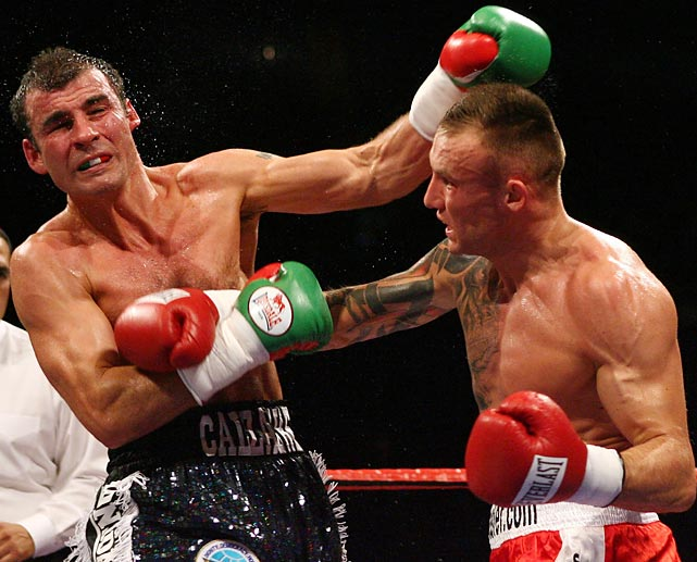 "Calzaghe retains WBO title, wins WBC and WBA Super titles.  The Welshman and the Dane fight for three belts before a crowd of almost 50,000 at Millennium Stadium. In a crisply fought bout, Kessler, 39-0, is stronger for five rounds, but Calzaghe, 43-0, rallies to take a well-received unanimous decision. Having made 21 defenses, Calzaghe is finally recognized as a legitimately great fighter. ""I had plans for this fight,"" Kessler says, ""but he just crushed my dreams."""