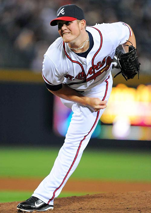 The Braves' Kimbrel set the rookie saves record of 46 while cruising to NL Rookie of the Year honors. He faded in September, along with his team, but he was almost unhittable for most of the summer, at one point recording 38 consecutive scoreless outings.