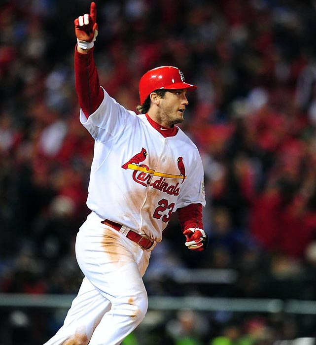 Limited by injuries yet again, the Cardinals' third baseman played just 97 games in 2011, his third big league season, but he was at full health in October and it showed. Freese hit .397 with five home runs and 21 RBIs during St. Louis' march to the World Series title and won MVP honors in both the NLCS and World Series. In Game 6 of the Fall Classic, with the Cardinals down to their last strike, Freese delivered the game-tying two-run triple. In the 11th he hit a walk-off home run, forever cementing his place in baseball history.