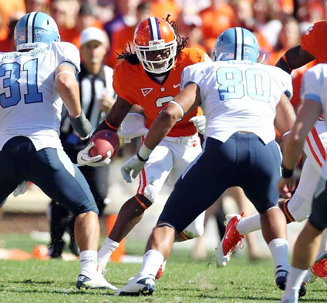 Already well known in recruiting circles as one of the nation's top prep prospects, Watkins achieved more widespread fame as a true freshman at Clemson. Despite missing time with nagging injuries in the season's final weeks, Watkins racked up 1,153 receiving yards and 11 touchdowns while leading Clemson to the ACC title and an Orange Bowl berth. In addition to earning numerous Freshman of the Year honors, Watkins received All-America honors as a kick returner and finished the season ranked fourth nationally in all-purpose yardage.