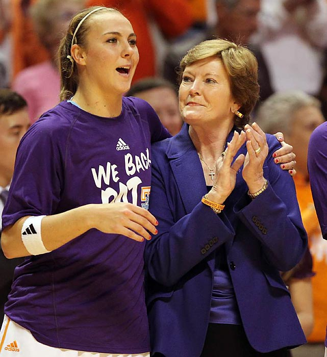 """In August 2011, Pat Summitt revealed that she had been diagnosed with early-onset dementia, Alzheimer's type. Tennessee fans responded by showing up by the thousands wearing """"We Back Pat"""" T-shirts."""