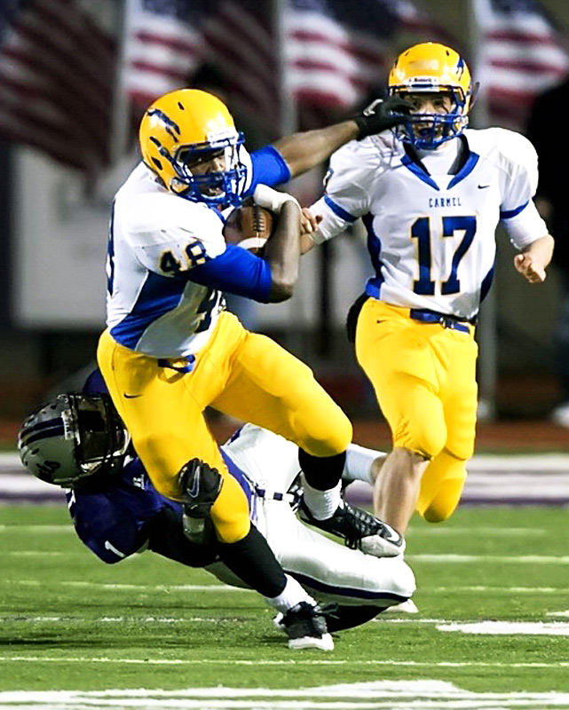 After trailing 20-0 in the second quarter of its Nov. 14 playoff with Warren Central, Carmel mounted one of the more remarkable comebacks of the season. It rallied to cut the deficit to three, eventually topping the Warriors with 23 seconds remaining. The Greyhounds also beat Ben Davis, Center Grove and Penn en route to the Indiana Class 5A title, thanks in large part to a trio of D-I talents: Langston Newton, Shawn Heffern and Jimmy Herman are committed to Kentucky, Indiana and Purdue, respectively.