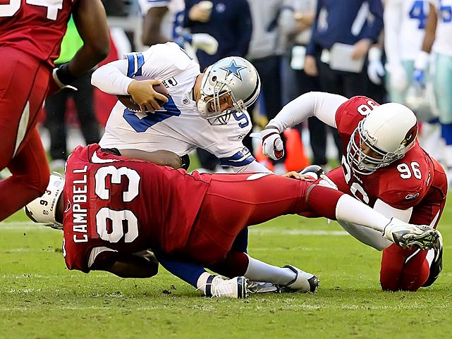 Arizona defensive end Calais Campbell sacks Cowboys quarterback Tony Romo during the Cardinals 19-13 win.