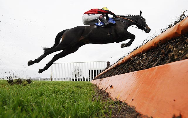 Duke of Lucca and rider Richard Johnson clear a jump to win the Weatherbys Talking Horse Beginners' Steeple Chase in Wincanton, England.
