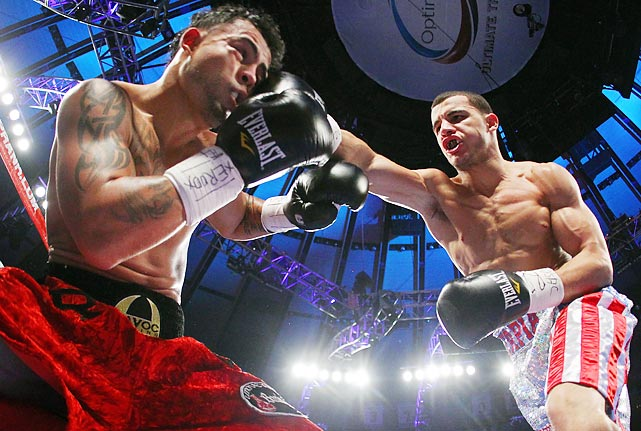 Glen Tapia of the U.S. lands a right hand on Mike Ruiz of Puerto Rico at Madison Square Garden. Tapia won the super welterweight fight by knockout in the second round to remain undefeated.
