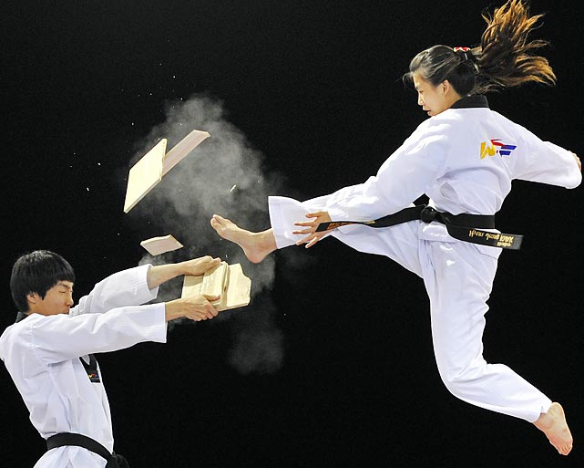 Boards were shattered during the Taekwondo display team 2012 Olympic test event at the ExCel Centre in east London.