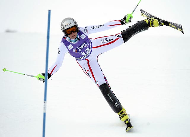 Nicole Hosp of Austria tries using just one ski during the FIS Alpine Skiing World Cup women's slalom race in France.