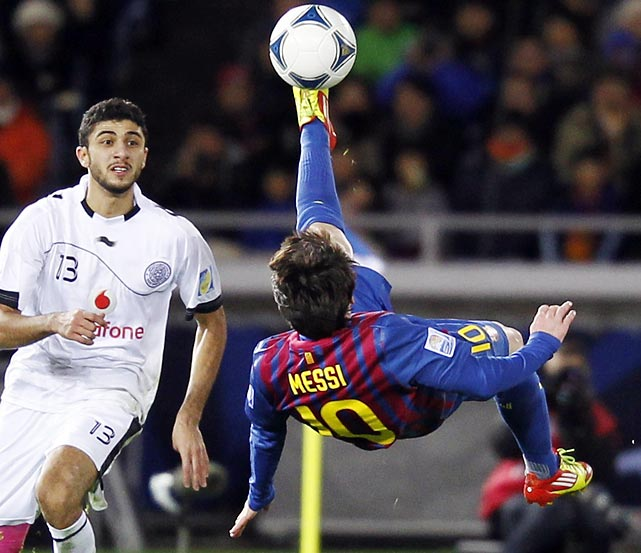 Lionel Messi of Barcelona attempts a bicycle kick during the Club World Cup semifinal in Japan.