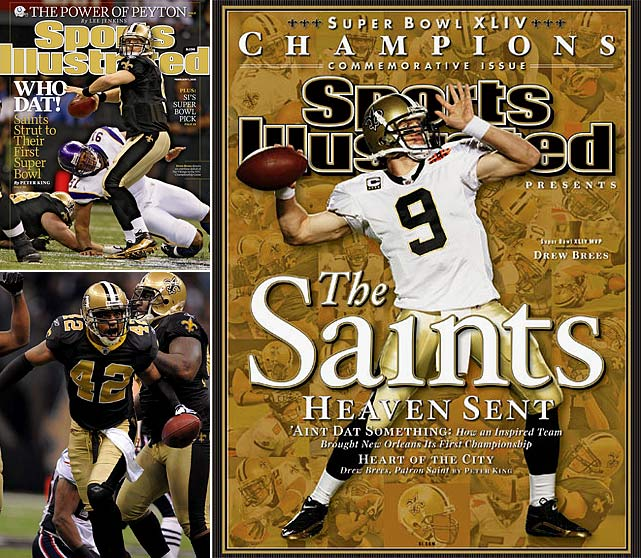 Drew Brees and the Saints dropped their final three games of the regular season, but outshined everyone in the playoffs. Brees' offense put up 31 points while Darren Sharper and the Saints' defense held Manning to only 17. Four and a half years after Hurricane Katrina, New Orleans won its first Super Bowl.