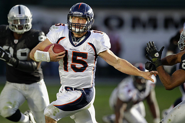 Coming off a bye week, Denver coach John Fox used a zone-read offense similar to the one Tebow ran at the University of Florida. The result was Tebow putting up his highest single- game rushing total of the year and the Broncos scoring a season-high 38 points.