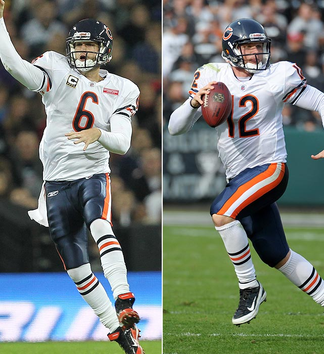 Cutler:  10 GS, 2,319 yards, 13 TDs, 7 INTs, 23 SCKs  Hannie:   4 GS, 613 yards, 3 TDs, 9 INTs, 19 SCKs