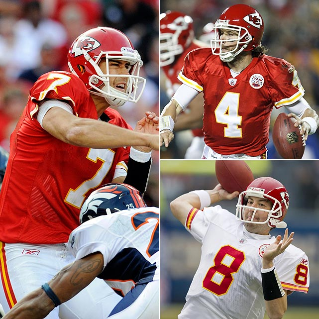 Cassel:  9 GS, 1,713 yards, 10 TDs, 9 INTs, 22 SCKs  Palko:  4 GS, 796 yards, 2 TDs, 7 INTs, 11 SCKs  Orton:  1 GS, 299 yards, 0 TDs, 0 INTs, 0 SCKs
