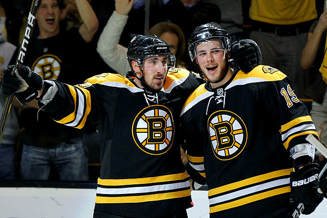 The two rookies, particularly winger Marchand, made their presence felt during Boston's march to its first Stanley Cup since 1972. The feisty Marchand, who scored 11 goals in 25 postseason games, proved to be a major irritant to the Vancouver Canucks in the Cup final. Center Seguin, the second pick in the 2010 NHL draft, blossomed with the start of the 2011-12 season, scoring 14 goals and 31 points in his first 32 games while going plus-26. Marchand, who started plus-25, earned the league's First Star honors for the week ending Dec. 25 by scoring four goals to up his team-leading total to 15.