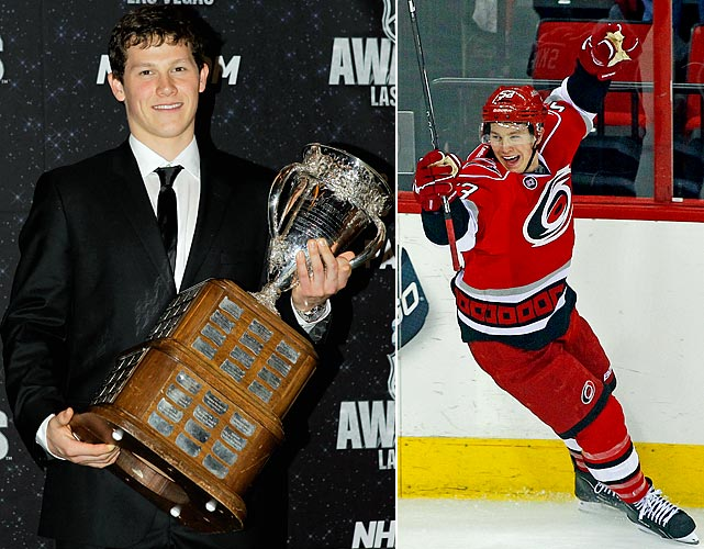 Selected seventh in the 2010 NHL draft, the 18-year-old center made an immediate impact in Carolina. The league's youngest player last season, Skinner finished with 31 goals and 63 points, earned the distinction of becoming the youngest All-Star in the history of the four major sports leagues and won the 2011 Calder Trophy as the NHL's rookie of the year. Skinner had 12 goals and 12 assists in his first 30 games of the 2011-12 season before being sidelined with a concussion.
