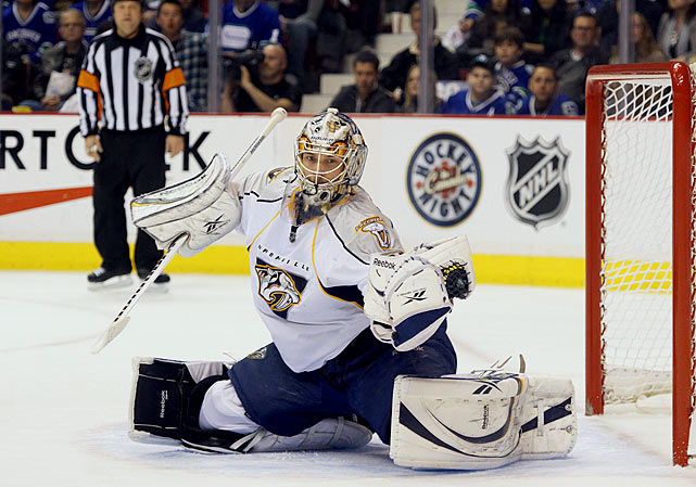 "An unheralded 258th overall draft pick in 2004, the athletic, 6'-5"" Rinne rose steadily, if quietly, into the ranks of the NHL's elite netminders.   His 2009-10 numbers were solid (32-16-5, 2.53 goals-against average, .911 saves percentage), but his 2010-11 campaign (33-22-9, 2.12. .930) earned him increasing recognition that culminated with the Predators eliminating the Anaheim Ducks in the Western Conference quarterfinals for Nashville's first-ever playoff series victory."