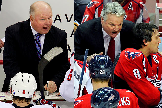 On Thanksgiving Day 2007, Bruce Boudreau was promoted from Washington's AHL affiliate and he immediately began to work magic that included reaching 200 wins faster than any coach in modern NHL history. The Capitals' dramatic turnaround included four consecutive division titles and winning the Presidents' Trophy in 2010, but for all their high-profile firepower, the team was routinely a disappointment in the playoffs. The gregarious Boudreau tried making his team more defense-minded in 2010-11, but the results were the same. Their hot 7-0 start in 2011-12 fizzled amid talk that the coach was feuding with star captain Alex Ovechkin, and Boudreau was dismissed on Nov. 28. His replacement, Dale Hunter, a former Capitals great, was summoned from the AHL with a reputation as a stern, no-nonsense taskmaster, but no NHL coaching experience.