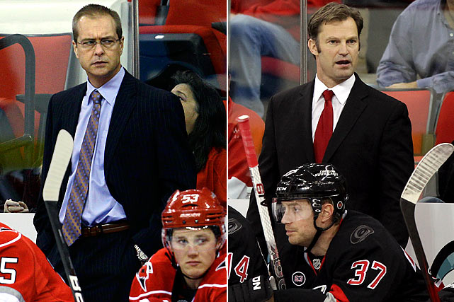 On the hot seat for a month, Paul Maurice's second stint as the Hurricanes' coach ended Nov. 28 with the team mired in last place in the Eastern Conference at 8-13-4 after having lost 10 of its previous 13 games. Maurice was coach when the franchise moved from Hartford to Carolina in 1997. He led the 'Canes to the 2002 Stanley Cup Final and served until 2003 before returning in Dec. 2008. His combined record was 384-391-145. Carolina's new rookie coach, Kirk Muller, was in his first season as bench boss of Nashville's AHL affiliate in Milwaukee when he got the call to fix a sputtering offense weighed down by Eric Staal's prolonged slump.