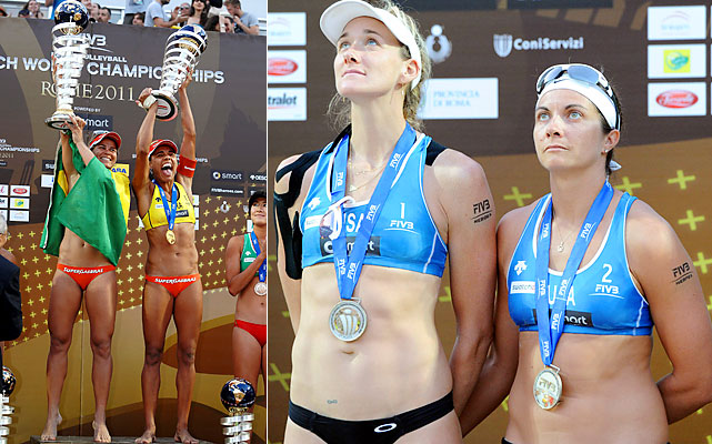 Both Olympic champions fell short in the last major championship before the 2012 Olympics. In their first year back together since the Beijing Games, Misty May-Treanor and Kerri Walsh (right) were beaten in the gold-medal match by the new world No. 1, Brazil's Larissa and Juliana (left). Phil Dalhausser and Todd Rogers didn't make it nearly as far, bowing out in the round of 16, allowing Brazilians Alison and Emanuel to win their first world title together.