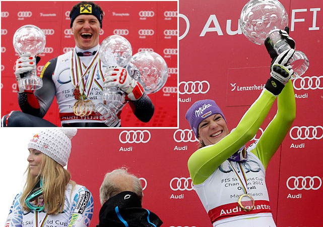 Croatian Ivica Kostelic (top left) ran away with his first overall title, joining retired sister Janica, who won three in her career. The women's overall championship came down to the final weekend between rivals Lindsey Vonn and Maria Riesch. Riesch took a slim three-point lead into the last race and won by that margin when the finale was canceled due to poor conditions. Vonn's three-year reign as the world's best skier ended, but she still scooped up season titles in the downhill, super-G and combined.