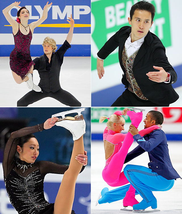 The Japanese earthquake and tsunami forced the event to be moved from Tokyo to Moscow and from March to April. In ice dancing, Meryl Davis and Charlie White (top left) became the first U.S. duo to win a world title. Patrick Chan (top right) set record scores in the short and long programs to win his first world championship. Germans Aliona Savchenko and Robin Szolkowy (bottom right) won their third gold in pairs. The surprising result came on the ladies' side, as 2007 world champion Miki Ando (bottom left) topped a field that included 2010 Olympic champion Yuna Kim (second) and 2010 world champion Mao Asada (sixth).