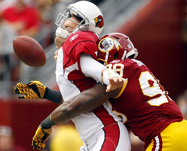 Redskins' linebacker Brian Orakpo smashed Kevin Kolb during a Week 2 game against Arizona, sparking a 22-21 victory. After racing to a 3-1 start, though, Washington would lose eight of its next nine to drop to 4-9.